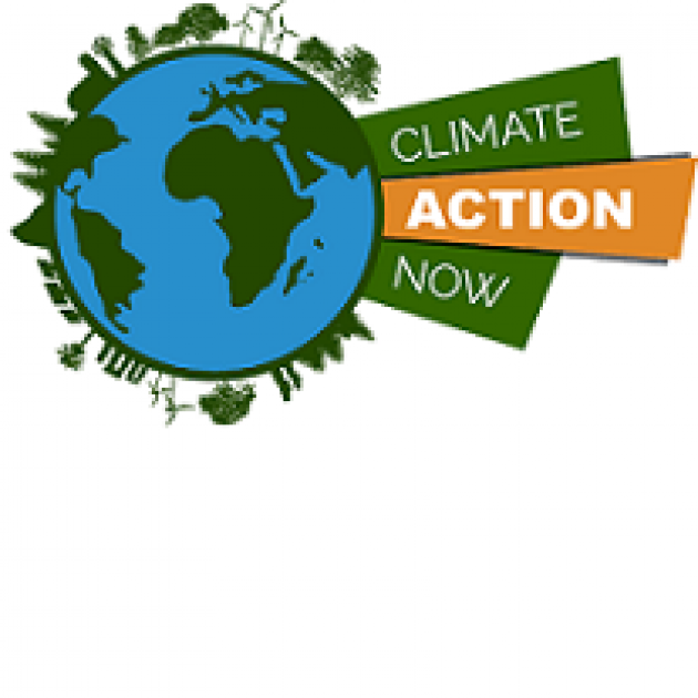 Drawing of the Earth, a round ball with blue and green to depict water and land, little houses and trees and windmills in green coming off the circle all around it and a banner that has the words climate action now