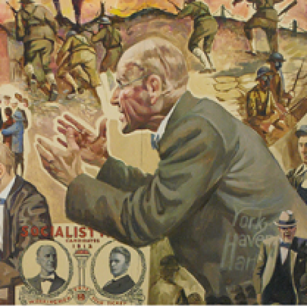 Painting of thin white bald man in a gray suit from a side view as he gestures and gives a speech
