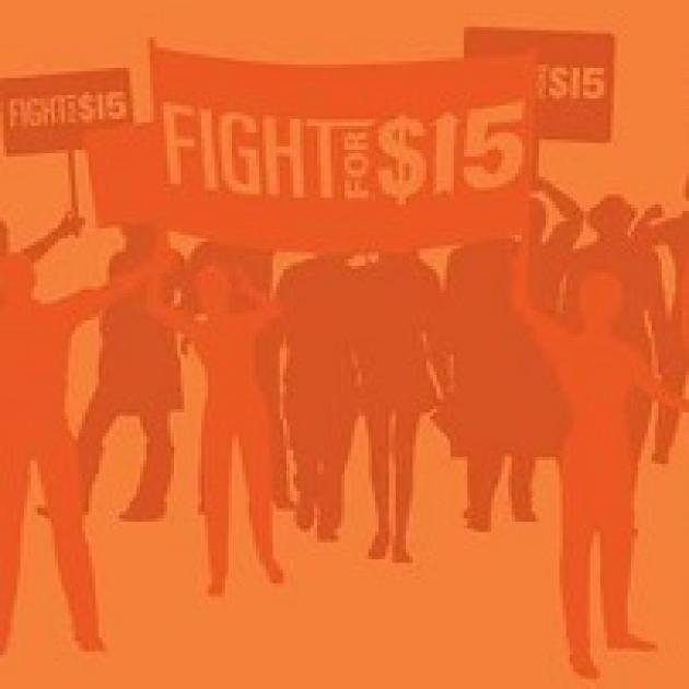 Orange drawing of lots of people standing and holding signs that say Fight for $15
