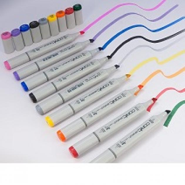 Lots of white handled thick marker pens all in a row making squiggly lines of different colors