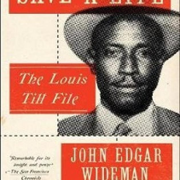 White words in a red box at top saying Writing to Save a Life, another red box at bottom left saying The Louis Till File and a black and white head shot of a young black ham in a hat and suit