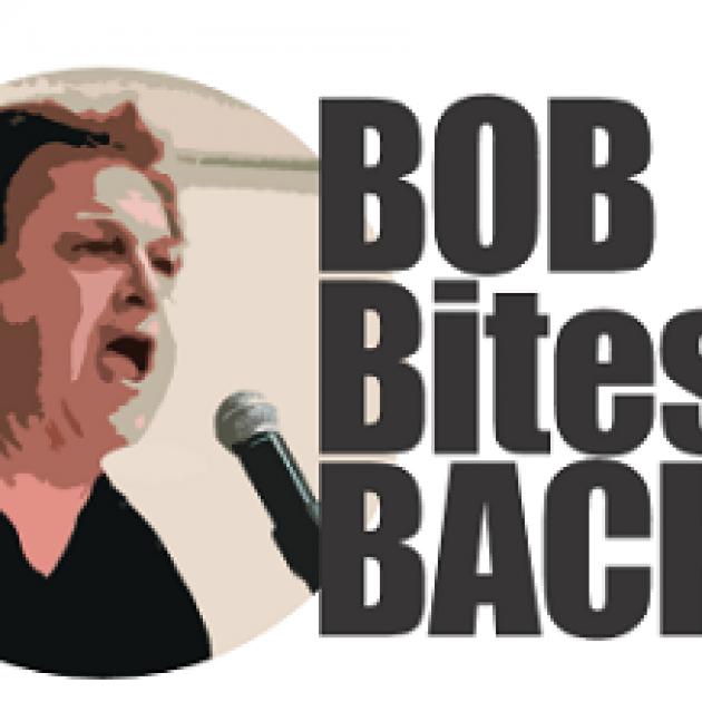 Bob's at mic yelling and words Bob Bites Back