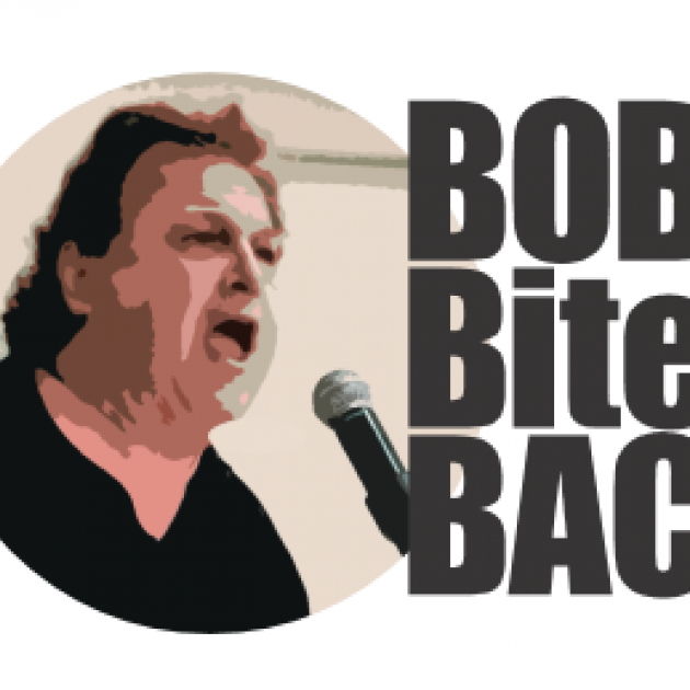 White man yelling into a mic, head and shoulders facing right and the words Bob Bites Back