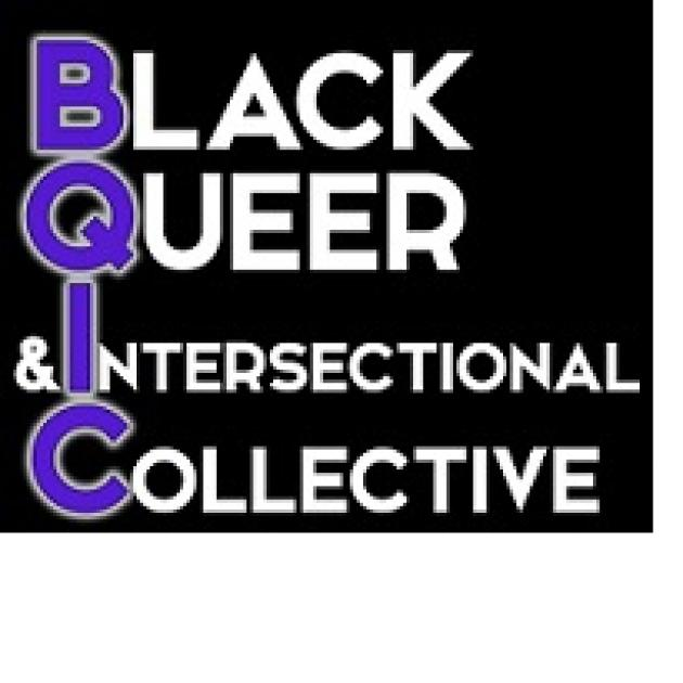 Words Black Queer Intersectional Columbus with each first letter in purple