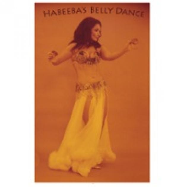 Orange photo of woman with long black hair belly dancing and words Habeeba's Belly Dance
