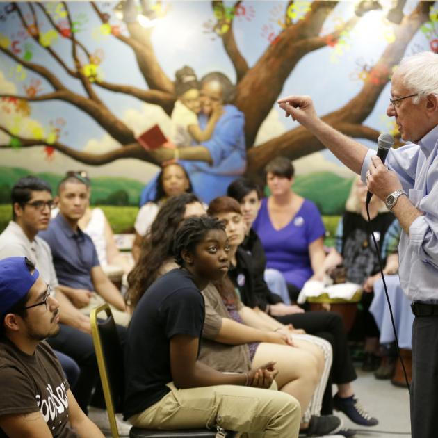 Bernie Sanders talking to young people
