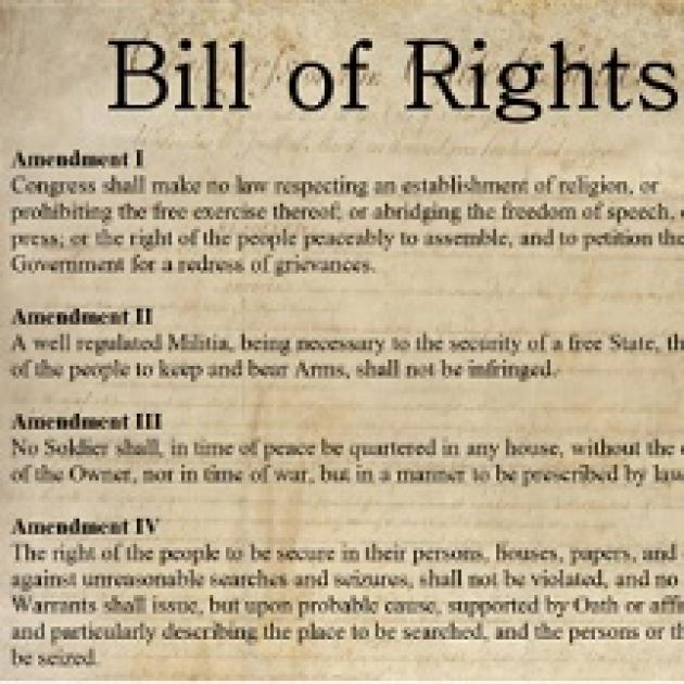 Document saying Bill of Rights at top and amendments listed