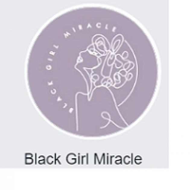 Purple circle with a drawing of a side view of a woman with curly hair and the words Black Girl Miracle