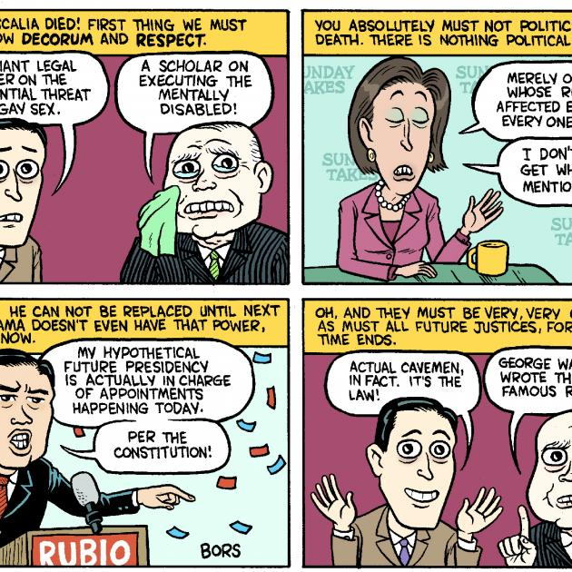 Four panel comic about Justice Scalia and who will replace him