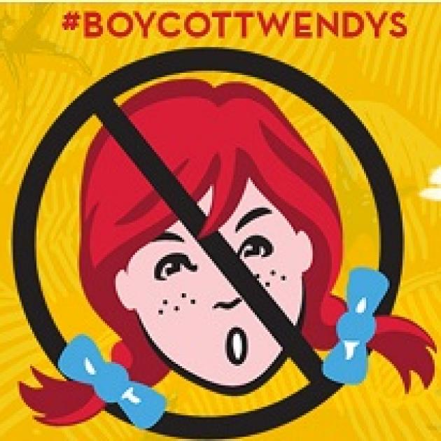 Cartoon of red-haired girl Wendy character inside a circle with a line through it, the No sign, and #Boycott Wendy's above
