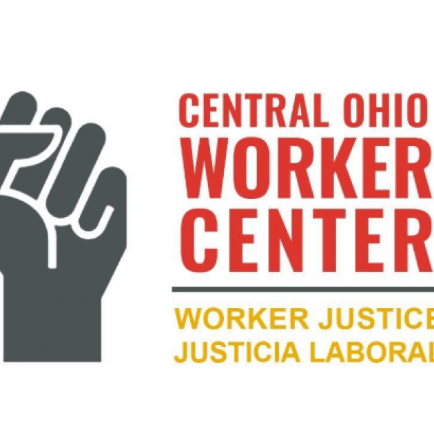 Gray fist in the air and words Central Ohio Worker Center