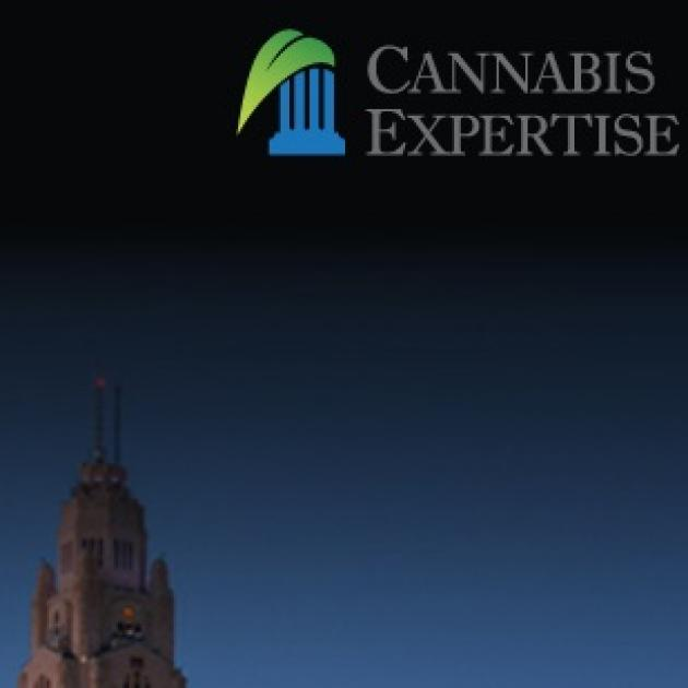 The words Cannabis Expertise in the top right corner and at the bottom is the leveque lincoln tower