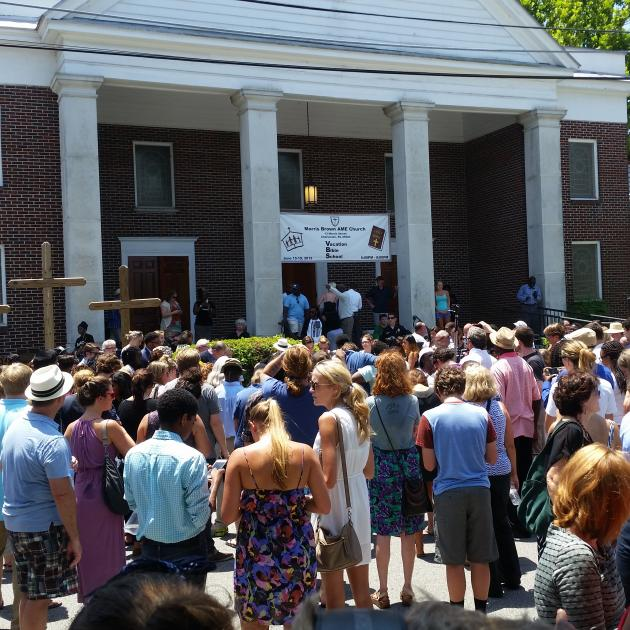 People gatheted at church for memorial in Charleston