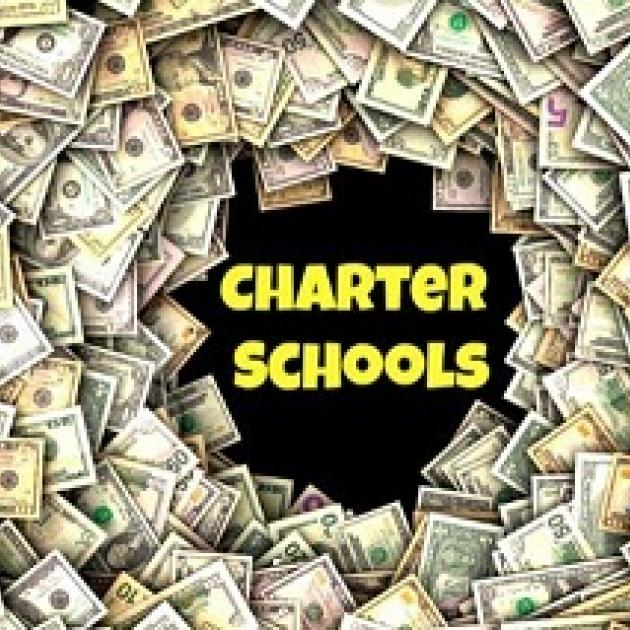 words Charter Schools in yellow on black surrounded by dollars