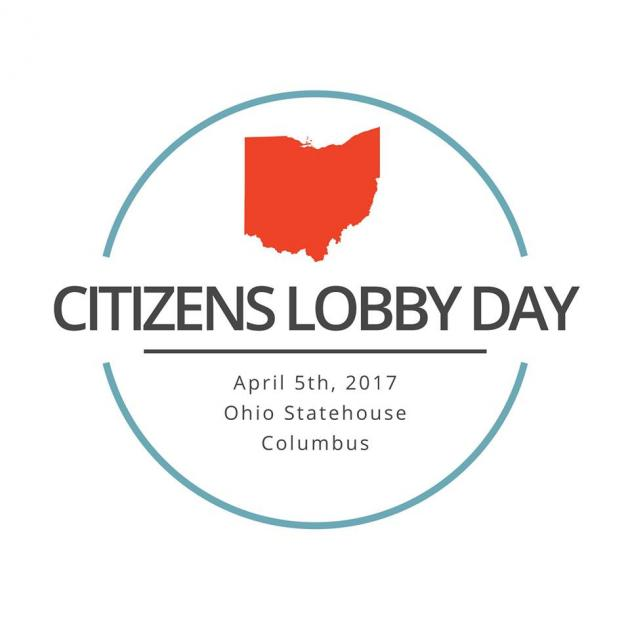 Round blue circle, red Ohio and words Citizen Lobby Day