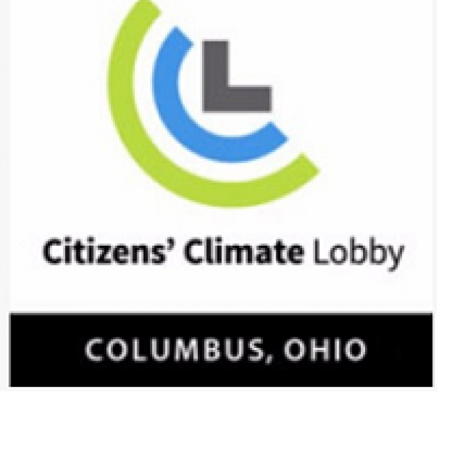 Half circles around each other green and blue and a gray L with words Citizens Climate Lobby Columbus Ohio