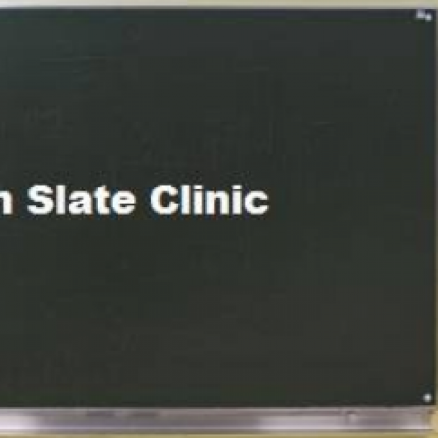 Chalkboard with words Clean Slate clinic