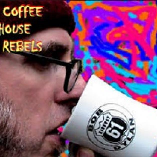 Psychedelic colorful background and white man in a cap with glasses drinking a cup of coffee with the words Coffee House Rebels