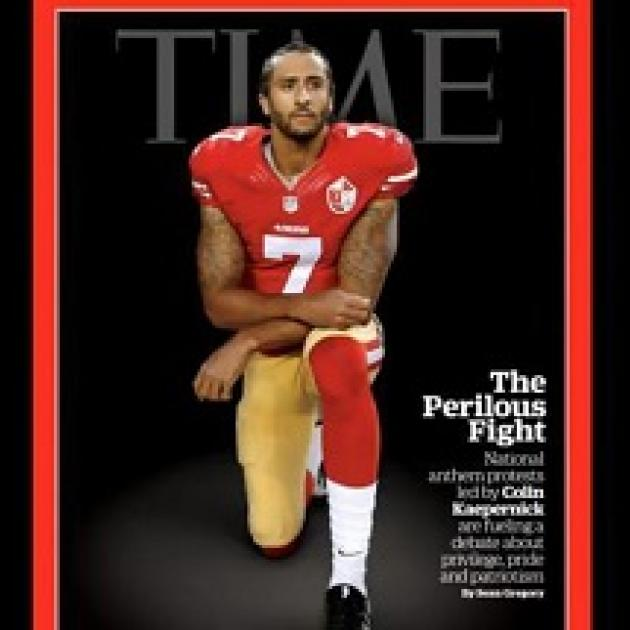 Magazine cover with word TIME at the top and football player in red and gold jersey kneeling and facing the camera and words about him - Colin Kapernick