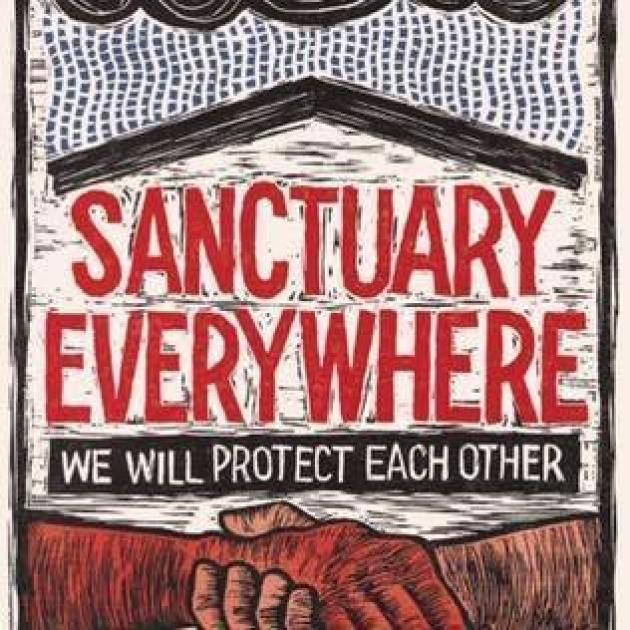 Drawing of two hands holding each other by the wrist and the words Sanctuary Everywhere we will protect each other
