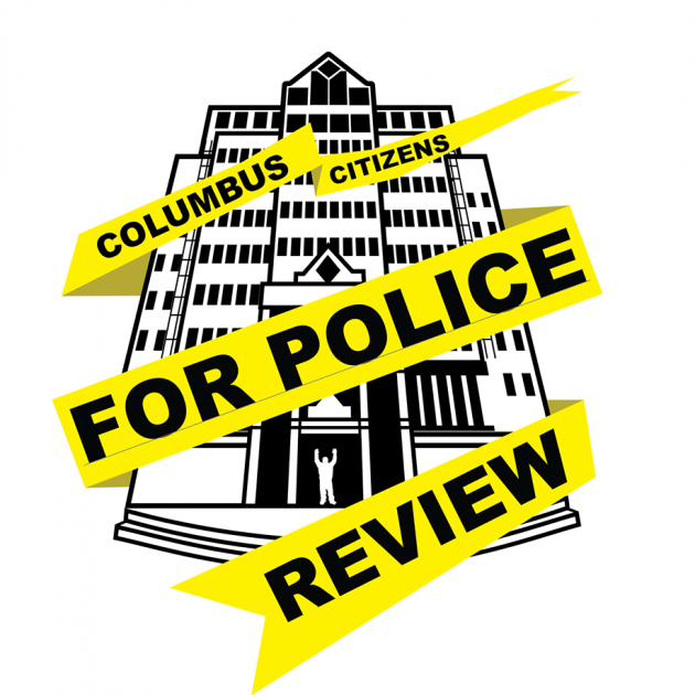 Police building in black and white sketch with yellow emergency tape with words Columbus Citizens for Police Review