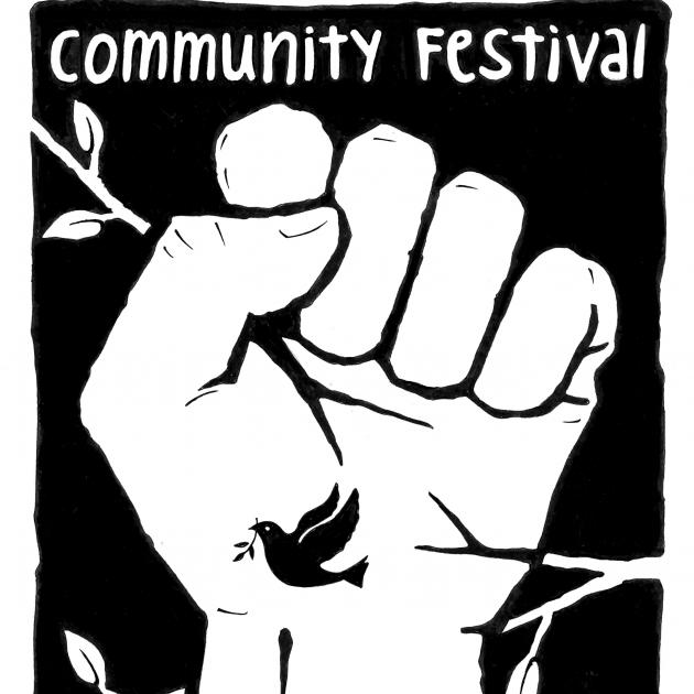 Comfest logo, a white fist in the air against black background