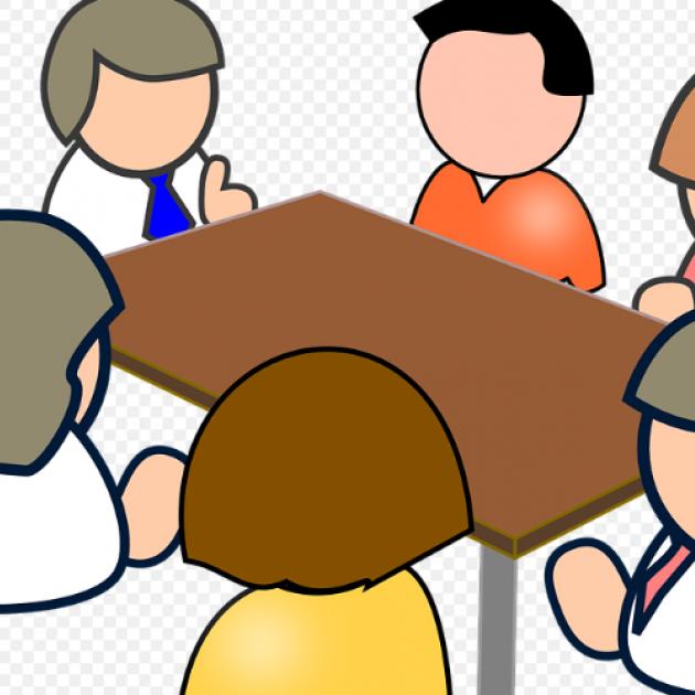 Cartoon people sitting around a table