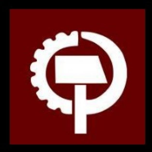 Brown background and white circle, the left side like a tire and a stick with a rectangle top in the middle
