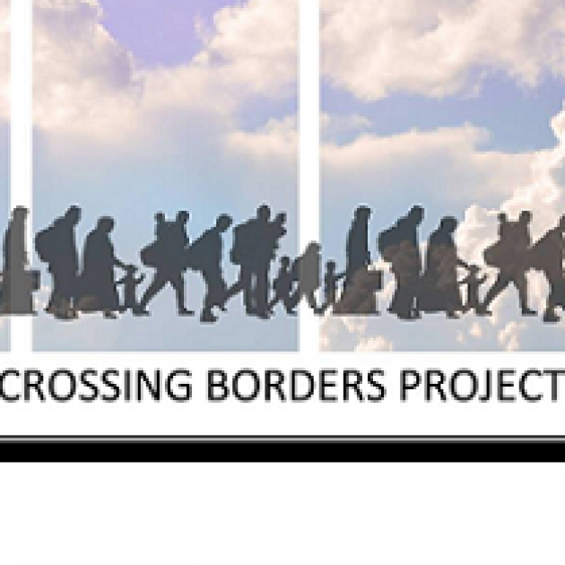 Clouds in background, silhouettes of people all traveling right and words Crossing Borders Project