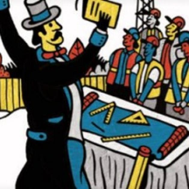 Colorful drawing of a man in hat with a long moustache holding a book in the air in front of a bunch of construction workers