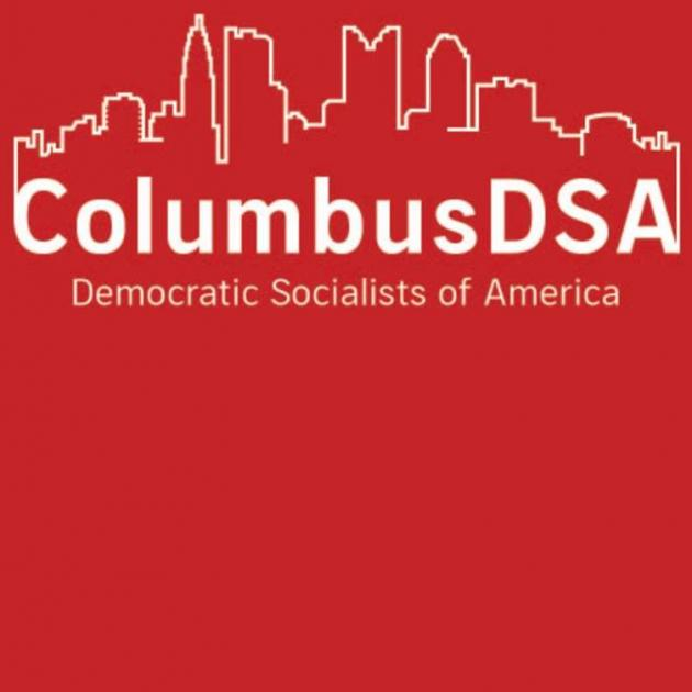 Red background with white letters Columbus DSA with Columbus skyline