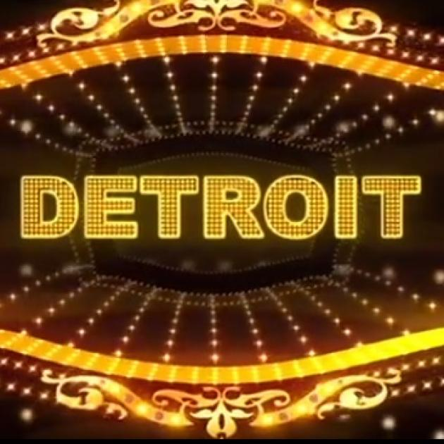 The word DETROIT in gold within a movie marquee