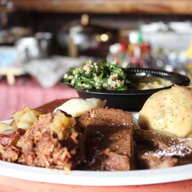 Pictured (Flynn 2016): Gingerbread French Toast, Chocolate Chip Pancakes, Rosemary Garlic Potatoes, Biscuits and Gravy, Kale and Quinoa Salad and Corn Chowder.