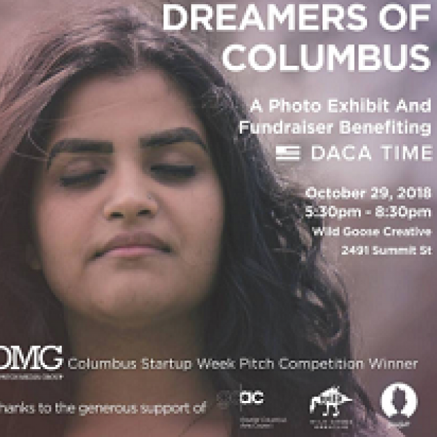 Young Latino woman's face looking down and details of the event