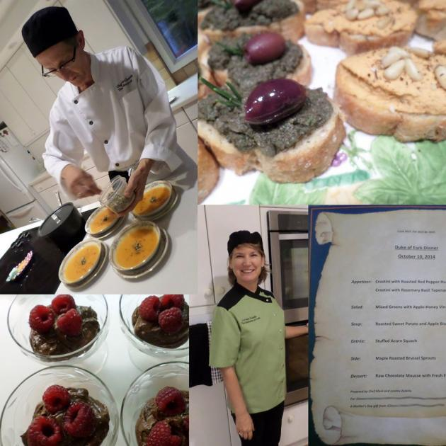 Photos of food and staff of restaurant