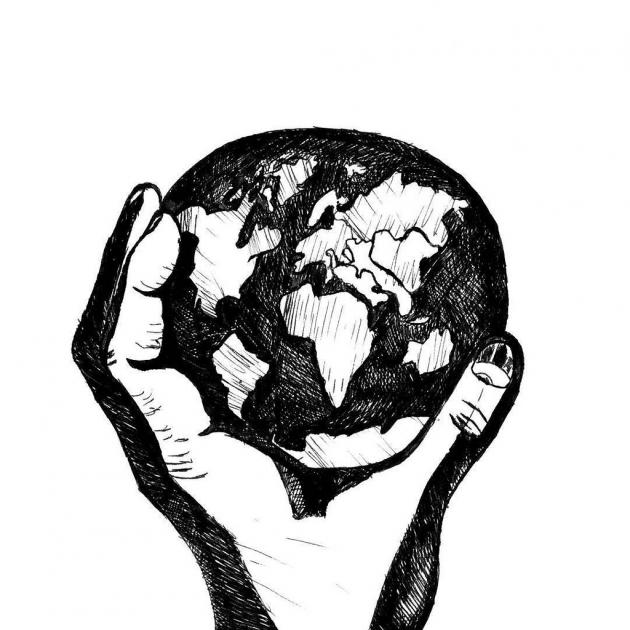 Black and white drawing of a hand holding the Earth
