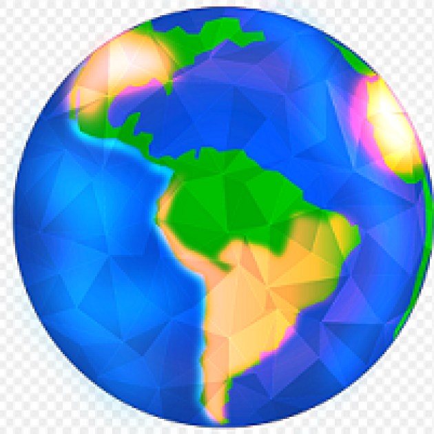 Drawing of colorful Earth with North and South America in gold and green against bright blue oceans