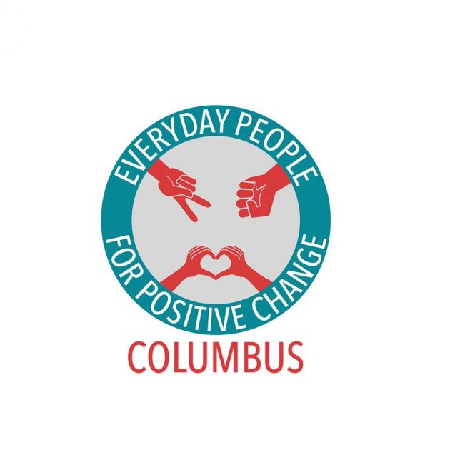 Teal circle with red hands making a peace sign, a fist and a heart, and the words Everyday People for Positive Change around the circle and Columbus at the bottom