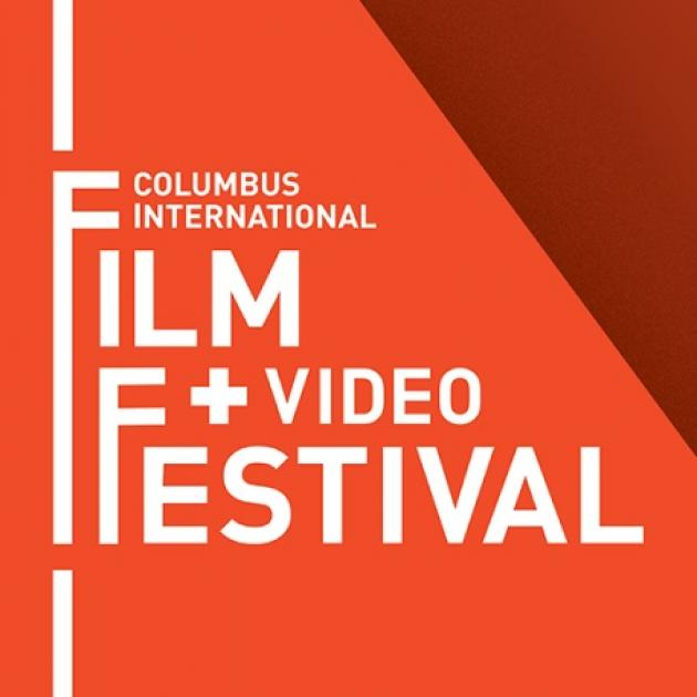 Orange background and words Columbus International Film + Video Festival