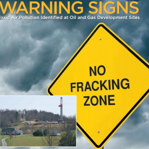 No Fracking Zone sign like a Yield sign and a photo of a fracking site