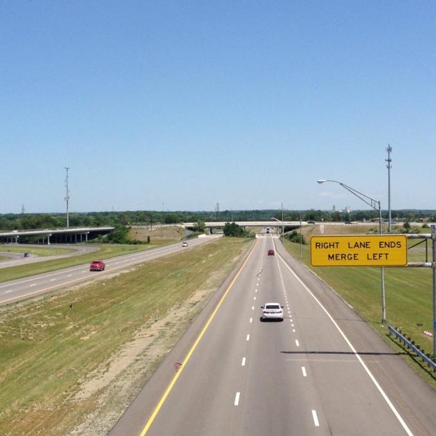 A bird's eye view of a highway
