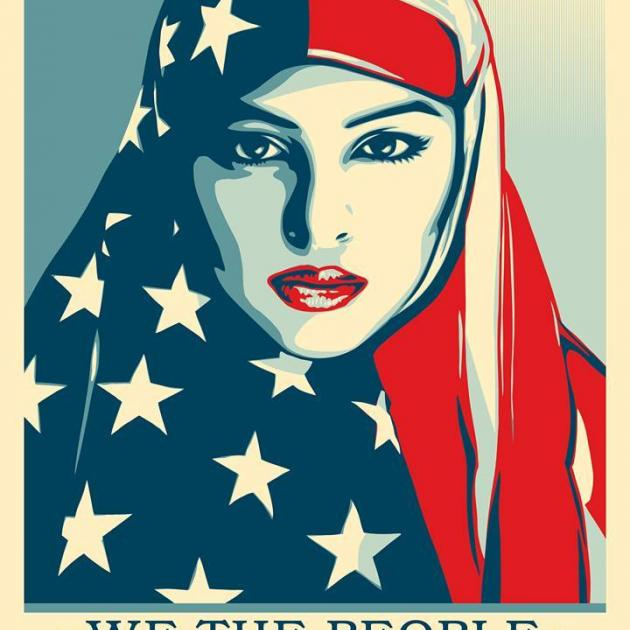 Red white and Blue headresson a Muslim woman