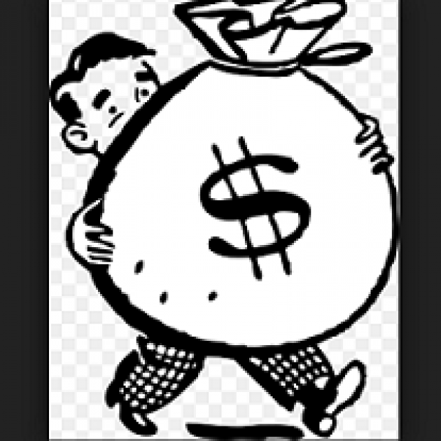Black and White drawing of man carrying a huge bag of money