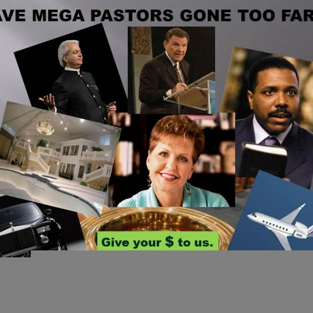 Collage of photos of pastors plane, car, big house, request for money