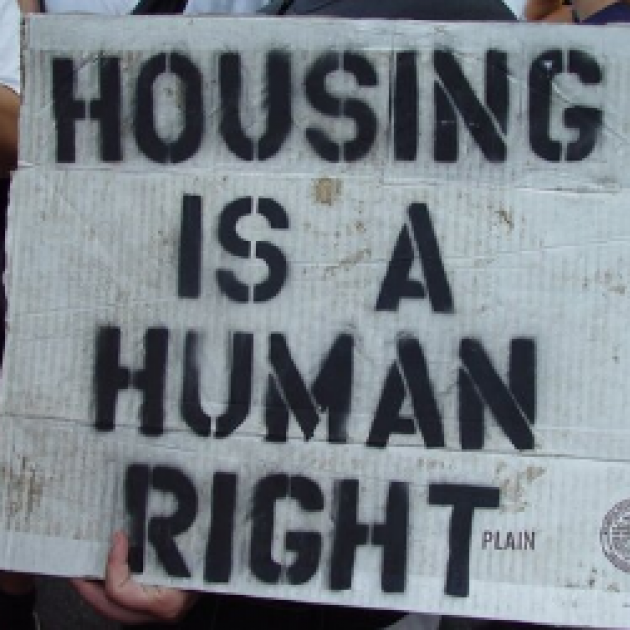 Sign saying Housing is a human right