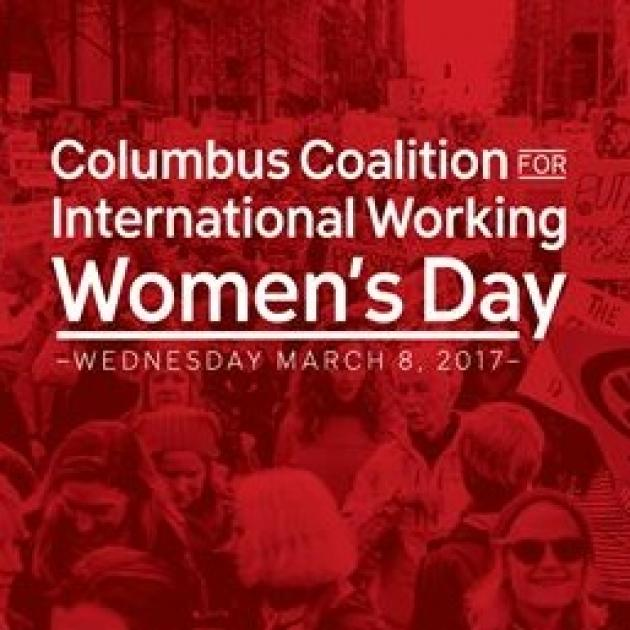 Red logo with women marching in background, words Columbus Coalition International Working women's day