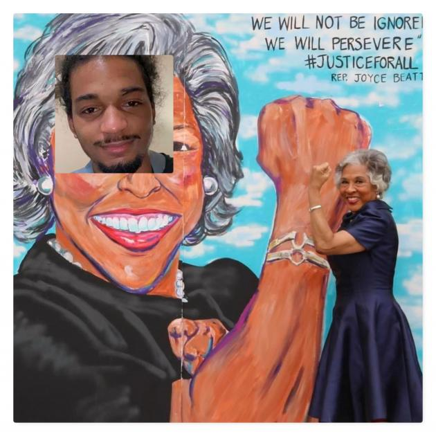 Joyce Beatty with Casey Goodson photo on her face