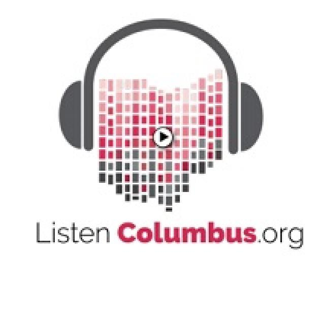 Drawing of headphones with the state of Ohio made out of little red and black squares in between the sides of the headphones and the words ListenColumbus.org