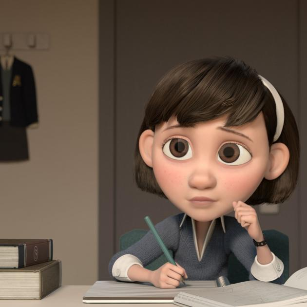 3D cartoon girl at a table with pencil and book