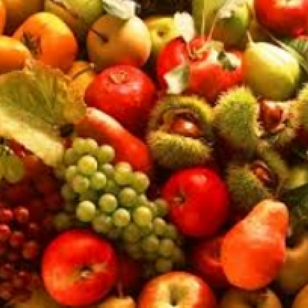 A huge pile of colorful fruit